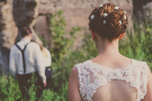 flowers in a brides hair