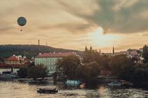 hot air balloon over a river