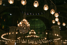 chandeliers inside a mosque