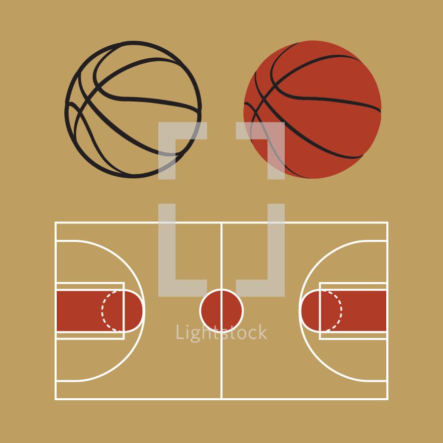basketball and basketball court