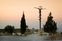 Sculpture representing Jesus' words in John 3:14 on Mt. Nebo in Jordan.