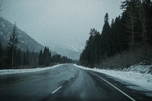 a winter mountain highway