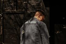 man in a denim jacket