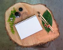 art supplies on wood log table