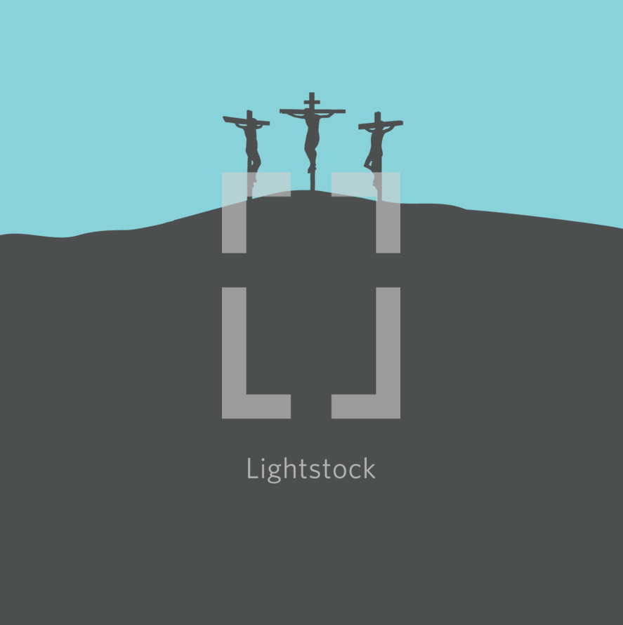 Depiction of Jesus on the Cross between two thieves in minimalist silhouette graphic design