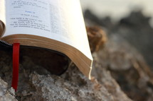 open Bible on a rock