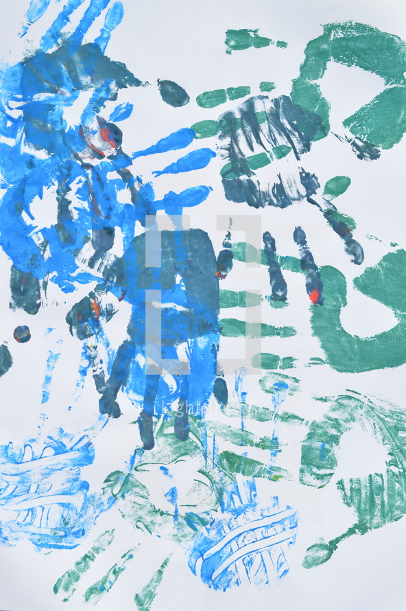 blue and green handprints
