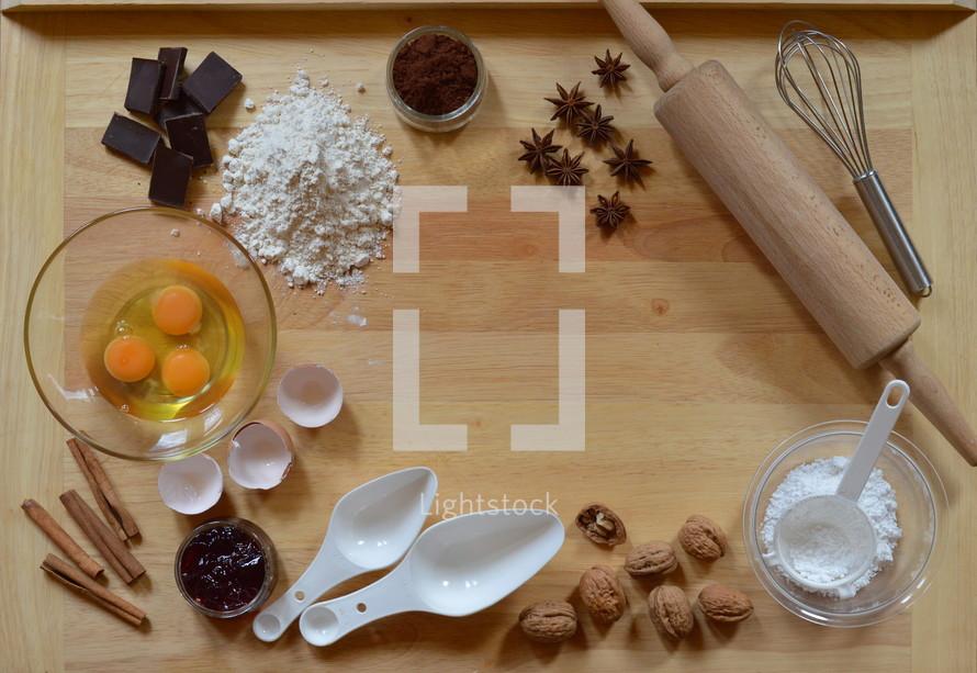 Frame of baking ingredients