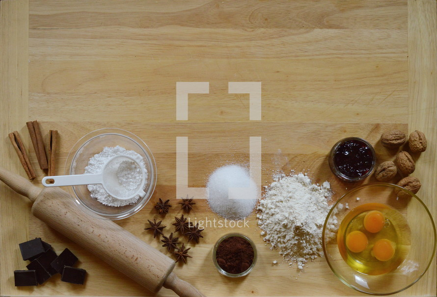 Border of baking ingredients with copy space above