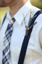 boutonniere on suspenders
