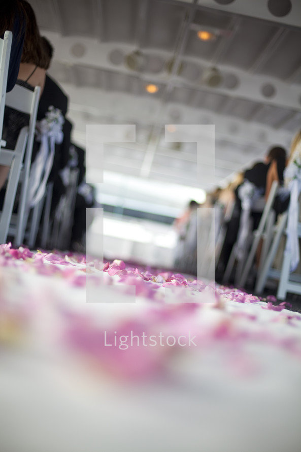 view from the aisle floor at a wedding