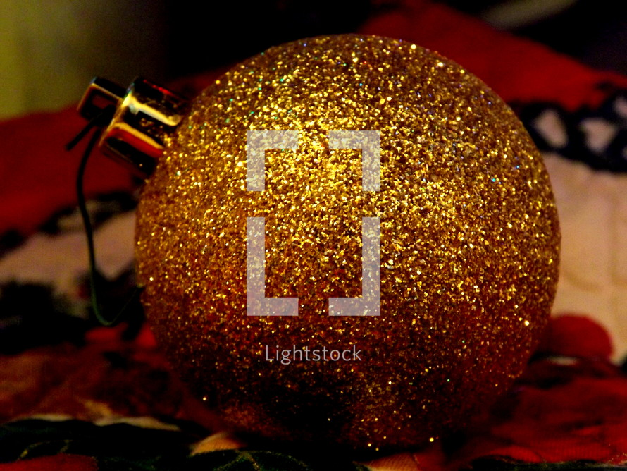 gold glitter Christmas ornament