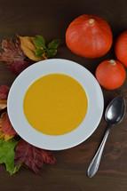 autumnal pumpkin soup in a bowl