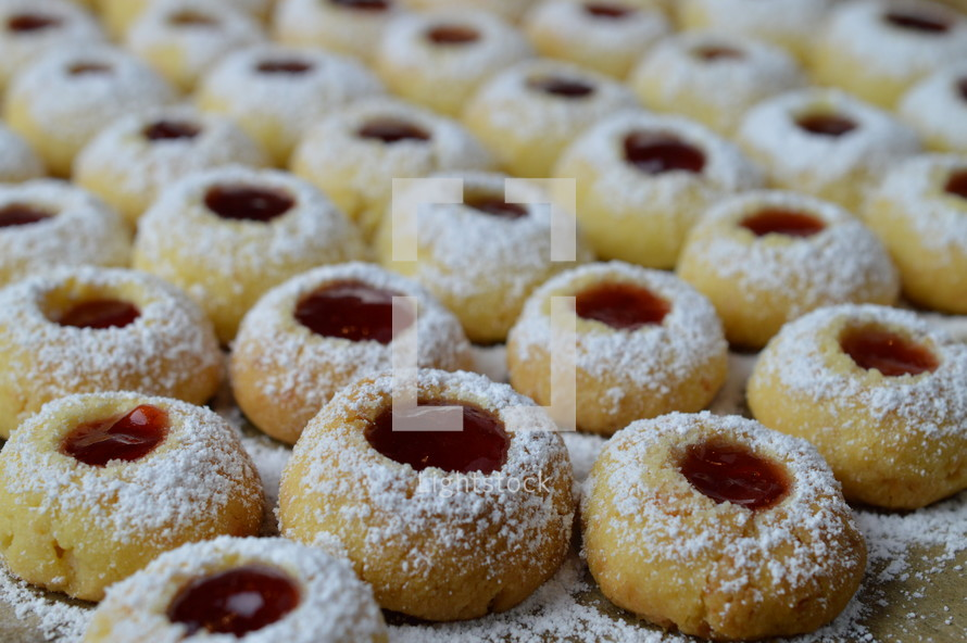jelly filled cookies with powdered sugar