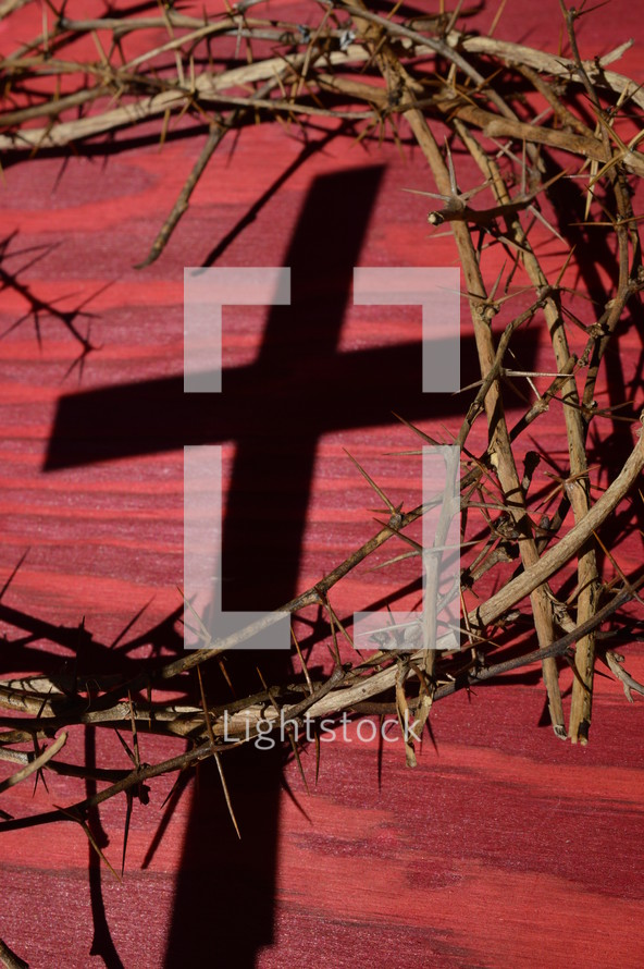 crown of thorns with shadows on a red wooden background