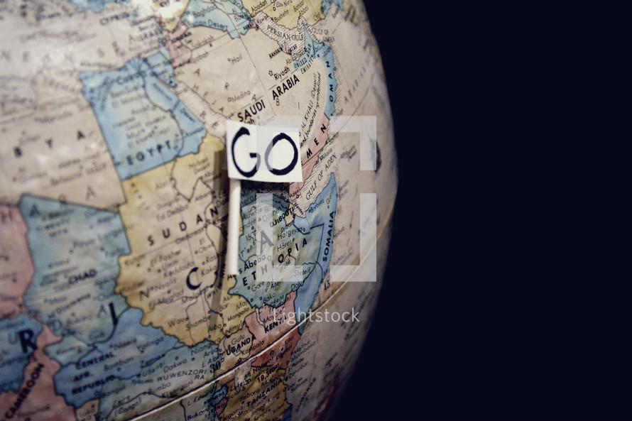 word go on a globe