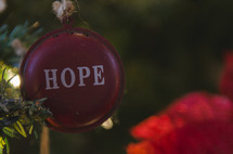 Hope Christmas ornament on a Christmas tree