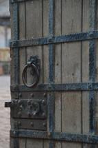 door pull on a wooden door