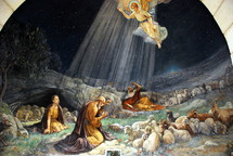A fresco painting in the chapel of Shepherds' Field (Beit Sahour, a suburb of Bethlehem), showing the angelic annunciation to the shepherds.