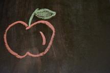 apple drawn in chalk