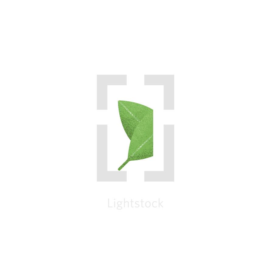 folded green leaf icon