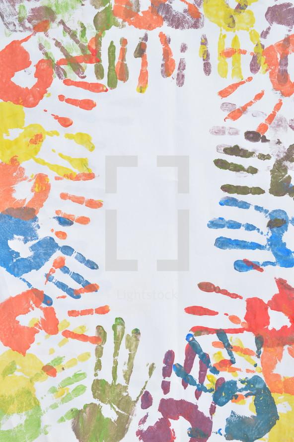 colorful handprints