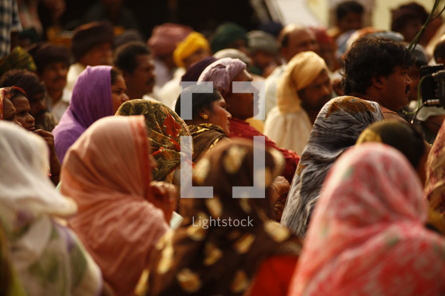 A crowd of people in India