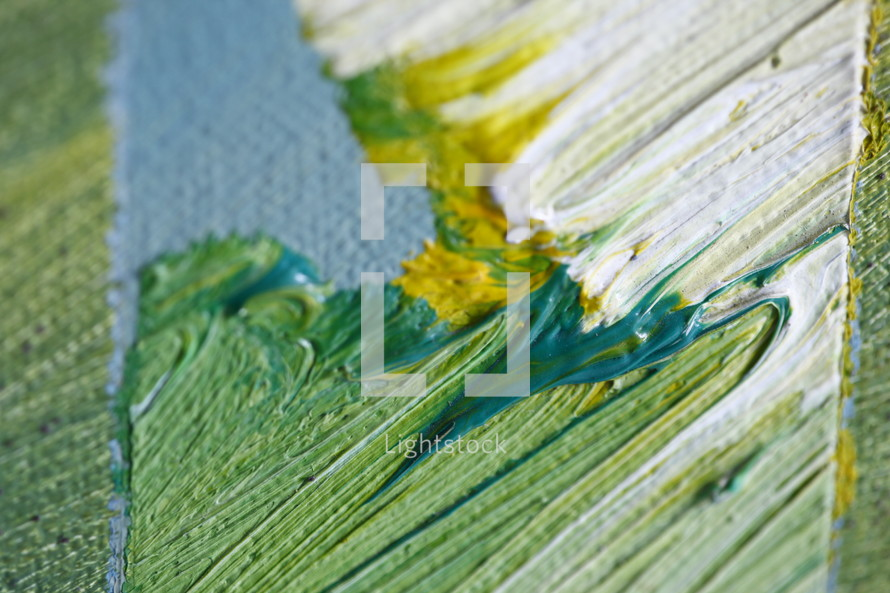 yellow, green, white, teal, and blue on canvas