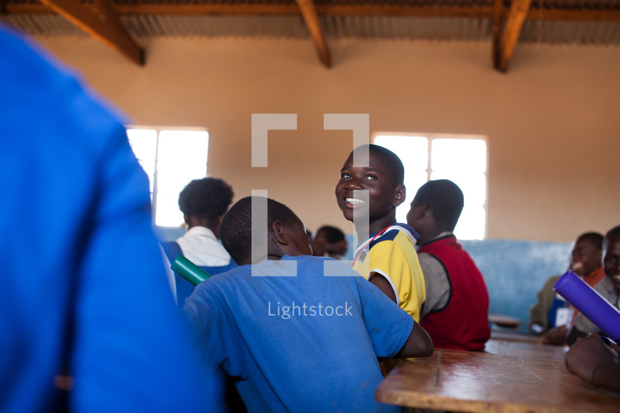 Children at school in Malawi, Africa.