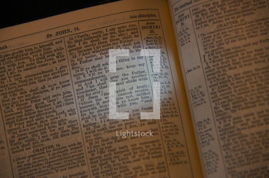 Antique King James Bible. John 14, 14-16.