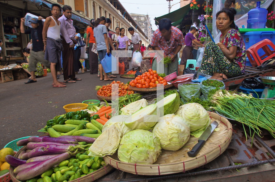 Street market selling vegetables