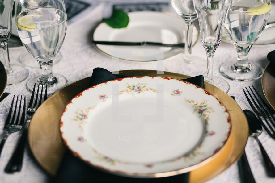 place setting on a table