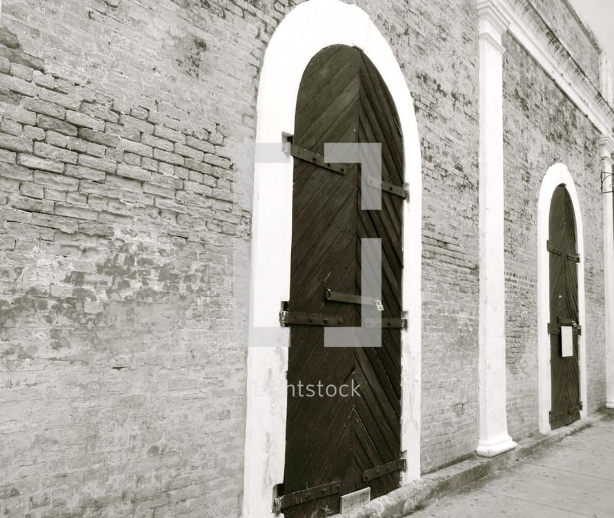 locked tall wood doors