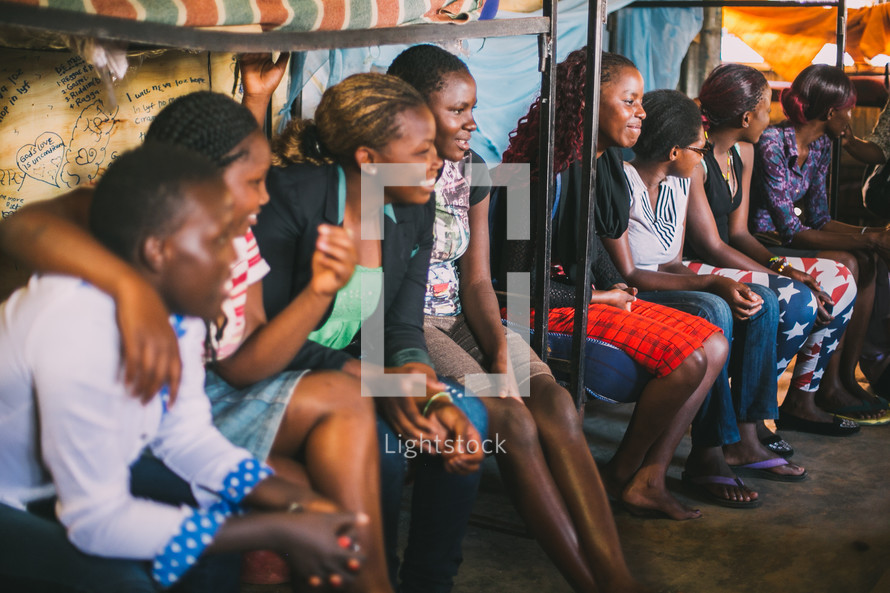 smiling faces of young women in Kenya