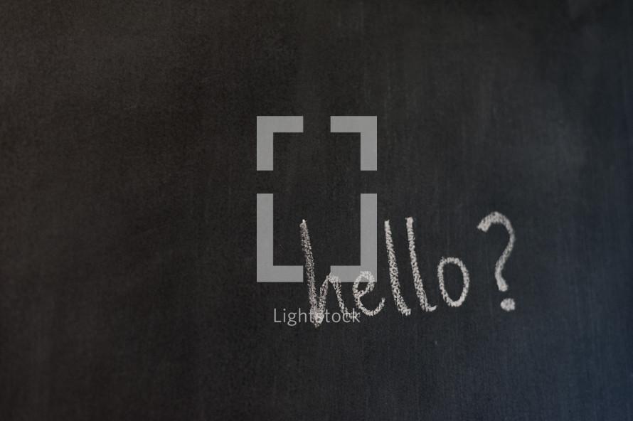 hello? on a chalkboard