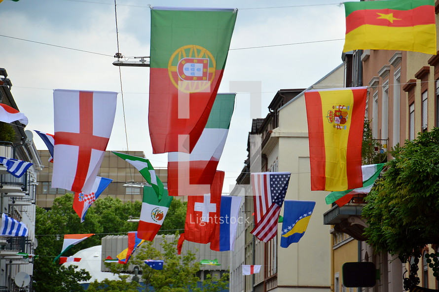 international flags in the street