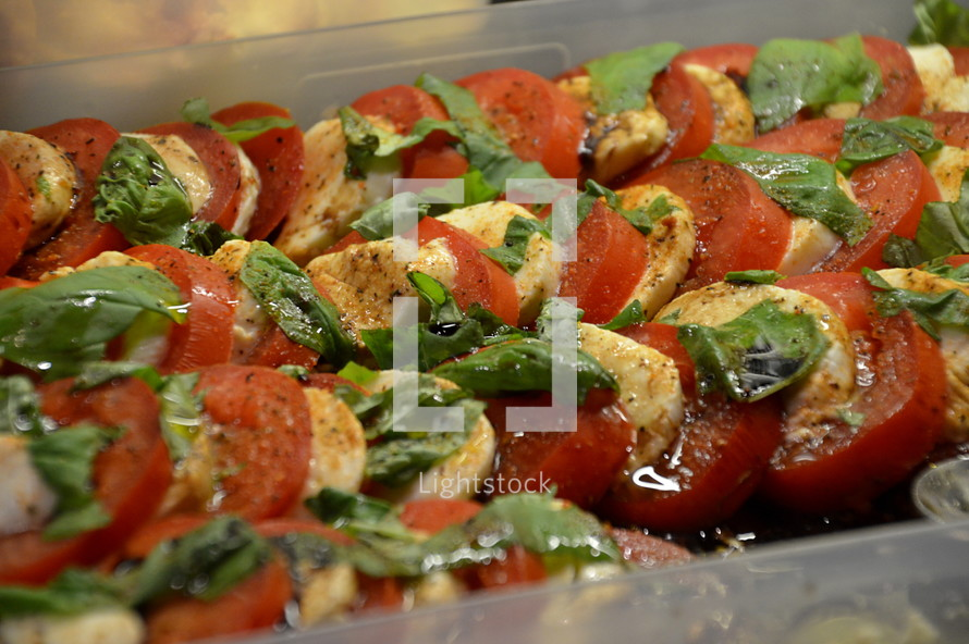 Fresh home made tomato mozzarella salad.
