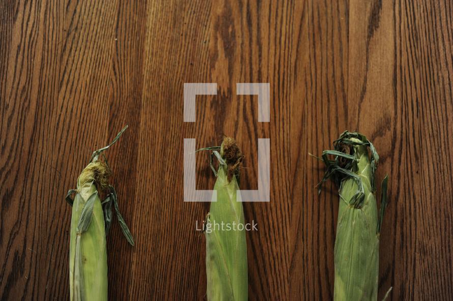 corn on a wood table