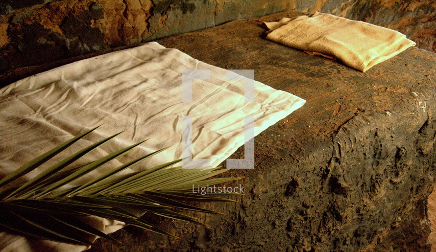 folded linens in the empty tomb