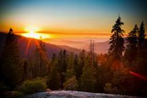 sunrise over a mountaintop