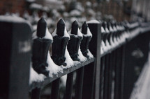 snow on a wrought iron fence