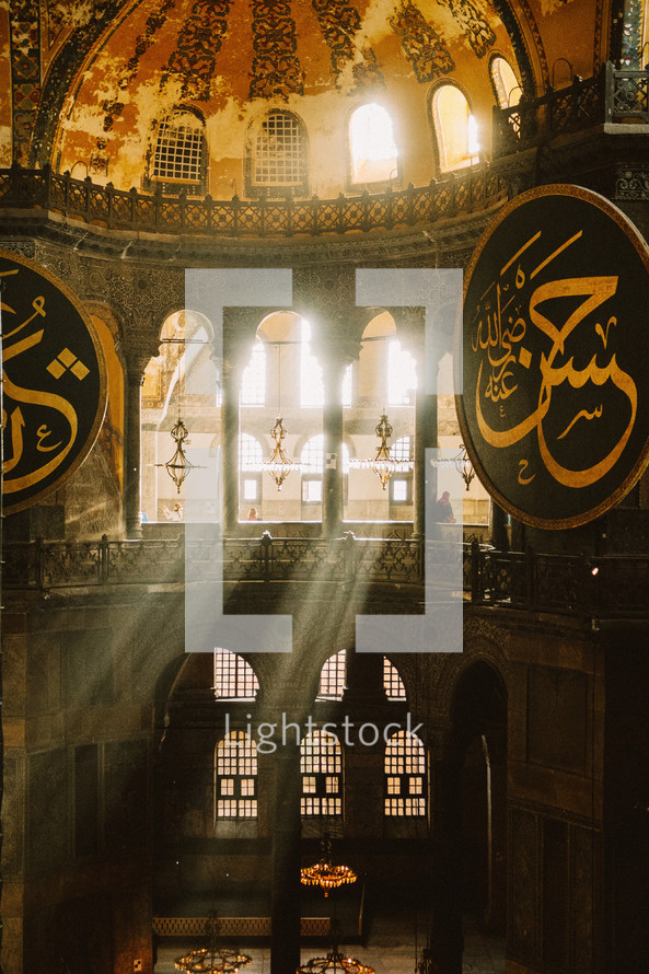Sunlight shining into a mosque in Turkey.