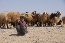 Shepherd boy in a sandy desert