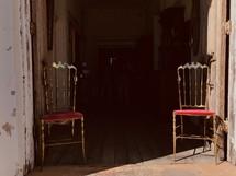 vintage chairs in a doorway