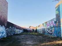 graffiti covered walls