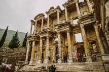 Columns on ruin walls in Turkey.