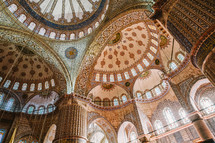 Mosque domed painted ceiling in Turkey