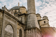 Closeup of a tower on a mosque in Turkey.