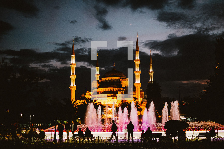 Fountains in front of a Mosque in Turkey at night.