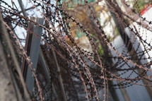 barbed wire around a political torture centre